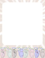 free soft country colored digital stationery with cats